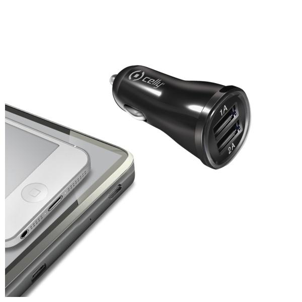 Autonabíječka Celly s 2x USB výstupem, 5V/2.1A - Černá CCUSB22