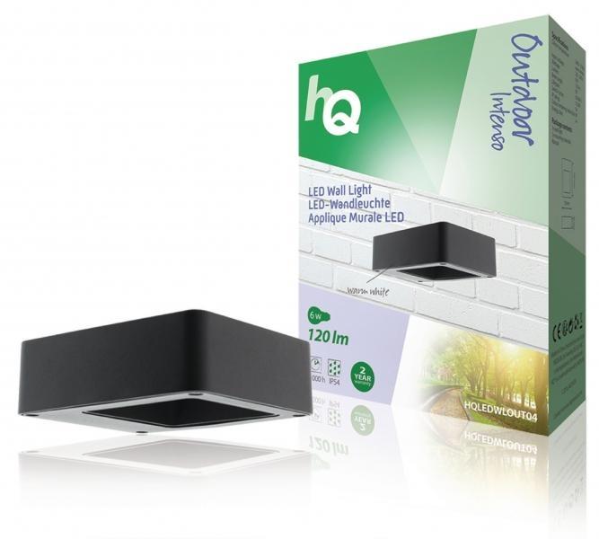 Nástěnné LED svítidlo HQ, čtvercové, malé, antracitové
