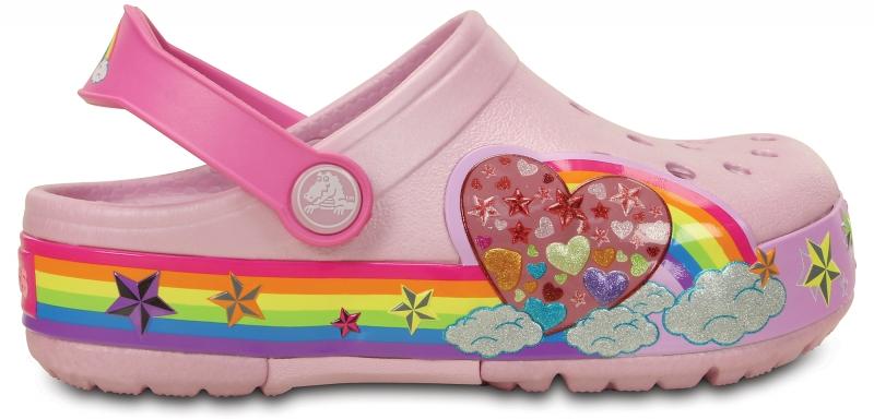 Crocs Lights Rainbow Heart Clog - Ballerina Pink, C7 (23-24)