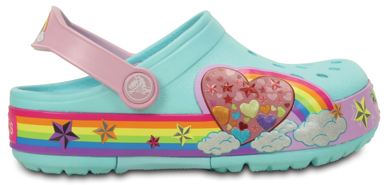 Crocs Lights Rainbow Heart Clog - Ice Blue, C11 (28-29)