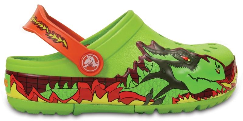 Crocs Lights Fire Dragon Clog - Volt Green, C13 (30-31)