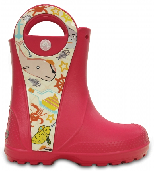Crocs Handle It Sea Life Rain Boot Raspberry, C11 (28-29)