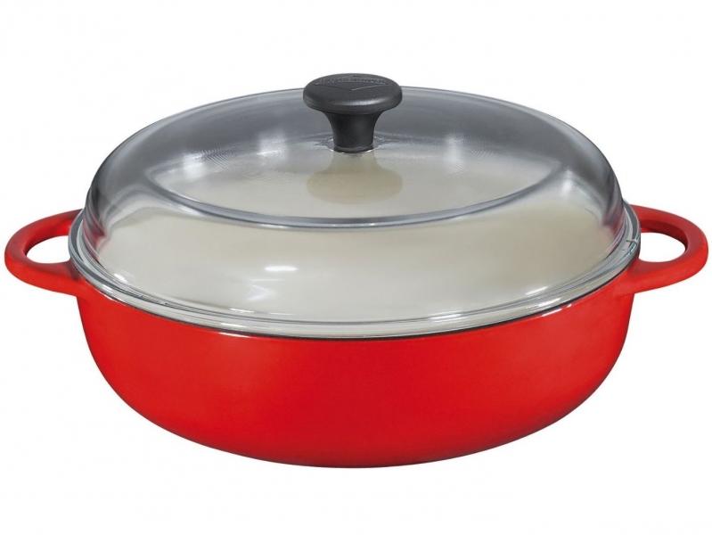 Küchenprofi litinový hrnec se skleněnou poklicí Provence, 24 cm - Červený