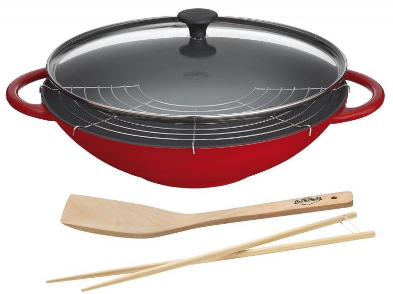 Küchenprofi litinová Wok pánev Provence s víkem a příslušenstvím, 36 cm - Červená