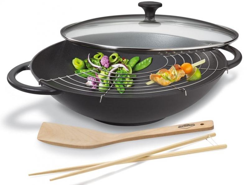 Küchenprofi litinová Wok pánev Provence s víkem a příslušenstvím, 36 cm - Černá