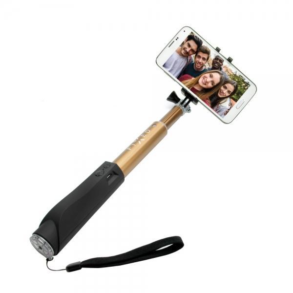 Teleskopický selfie stick FIXED v luxusním hliníkovém provedení s BT spouští, zlatý FIXSS-BT-GD