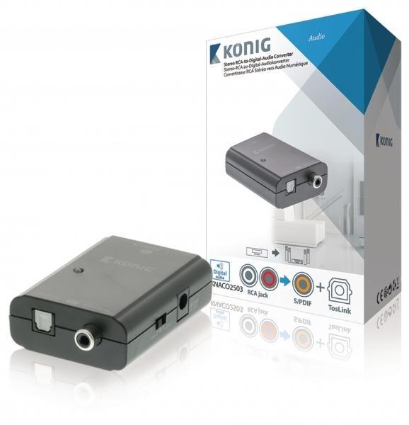 Stereo RCA na digitální audio převodník, 2x RCA zásuvka – TosLink + S/PDIF zásuvka, tmavě šedá (KNACO2503)