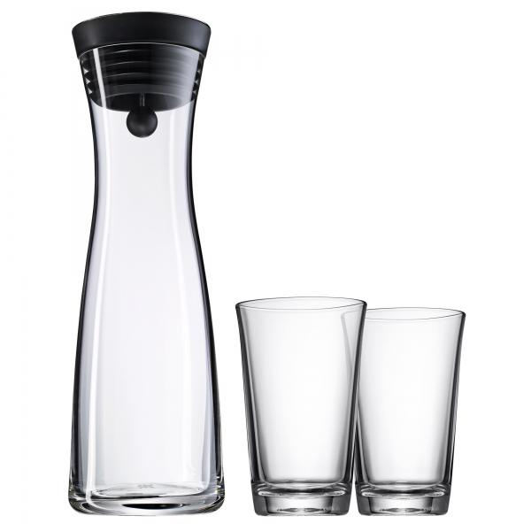 WMF 3-dílná sada karafy a skleniček Basic, 1 litr, černá