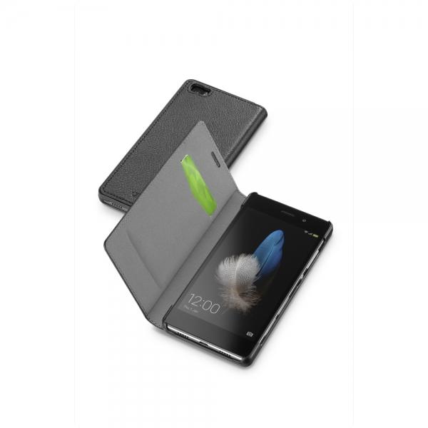 Pouzdro typu kniha CellularLine Book Essential pro Huawei P8 LITE, černé BOOKESSENP8LITEK