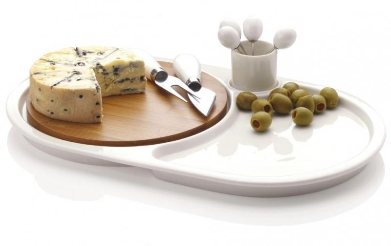 Maxwell & Williams sada pro servírování sýrů White Basics Bamboo, 9 ks, oválná