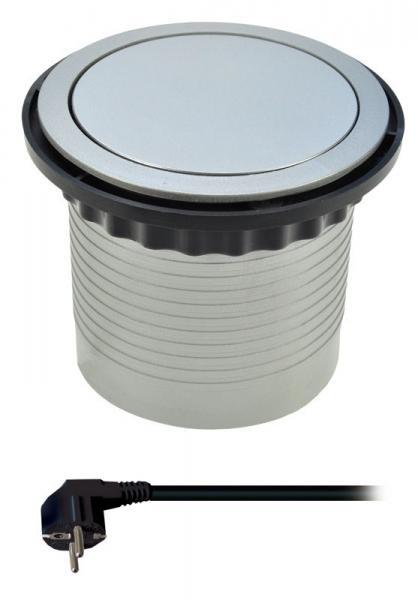 Solight prodlužovací přívod, 4 zásuvky, stříbrný, 1,5m, výsuvný blok zásuvek, kruhový tvar (PP100)