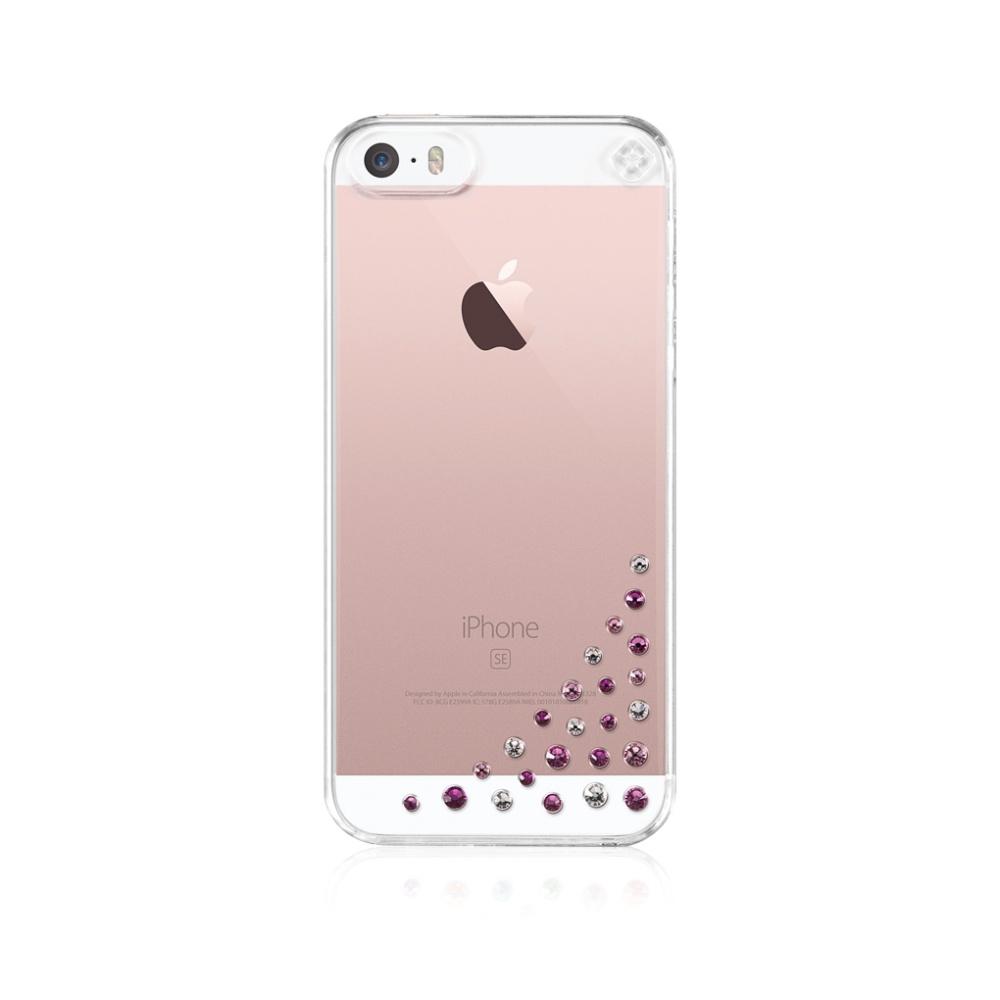 Zadní kryt Bling My Thing Diffusion Pink Mix pro Apple iPhone 5/5S/SE, s krytaly SWAROVSKI + folie SE-DF-CL-PM
