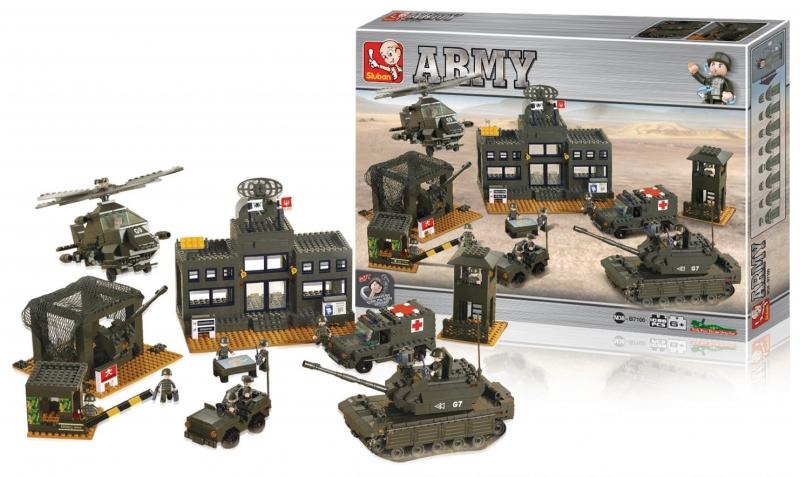 Stavebnice Sluban Army Vojenské velitelství, 1086 dílků M38-B7100