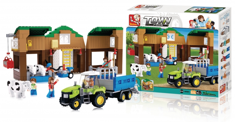 Stavebnice Sluban Town Farma s kravičkami, 513 dílků M38-B0561