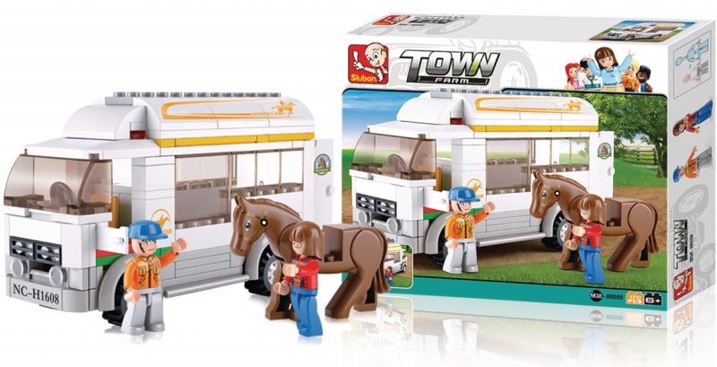 Stavebnice Sluban Town Vůz pro přepravu koní, 170 dílků M38-B0559