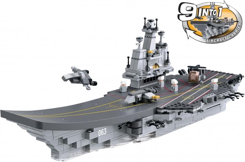Stavebnice Sluban Aircraft Carrier Letadlová loď 9v1, 1001 dílků M38-B0537