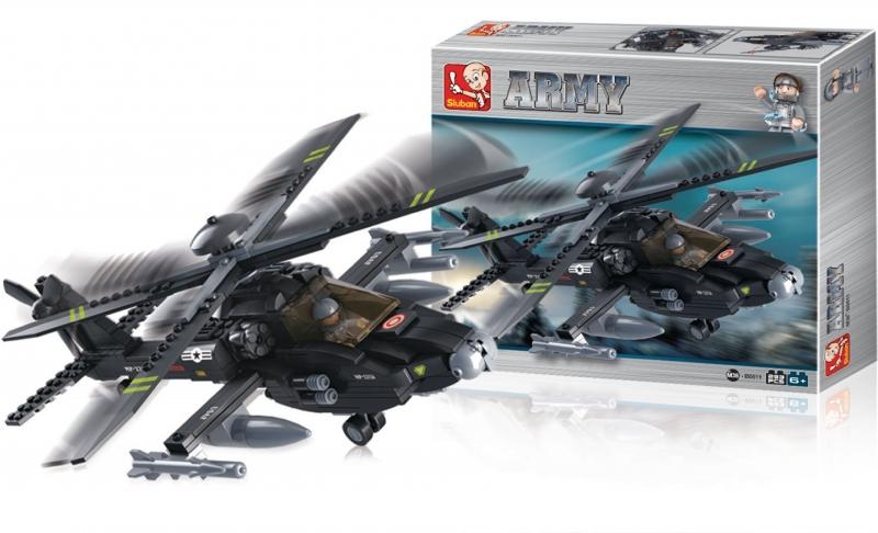 Stavebnice Sluban Army Helikoptéra Apache AH-64, 339 dílků M38-B0511