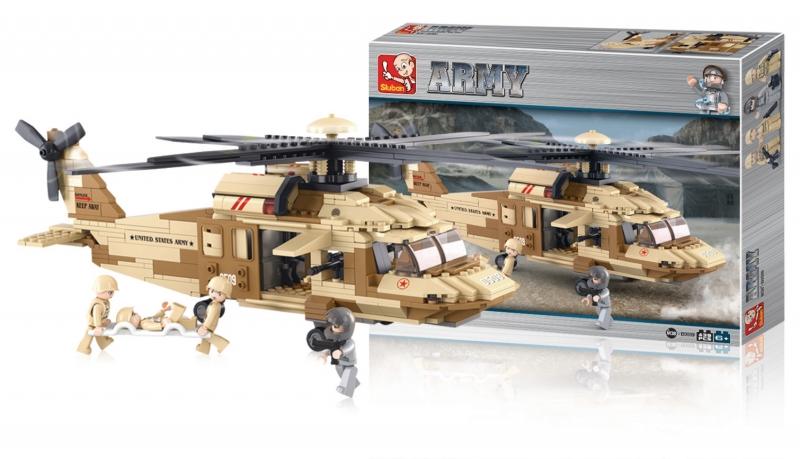 Stavebnice Sluban Army Helikoptéra Blackhawk UH-60L, 439 dílků M38-B0509