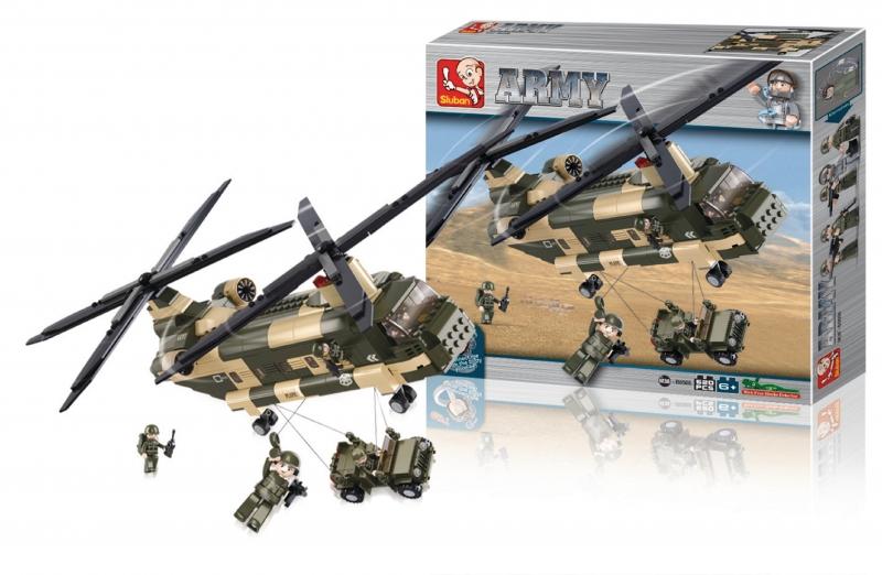 Stavebnice Sluban Army Transportní helikoptéra Chinook, 520 dílků M38-B0508