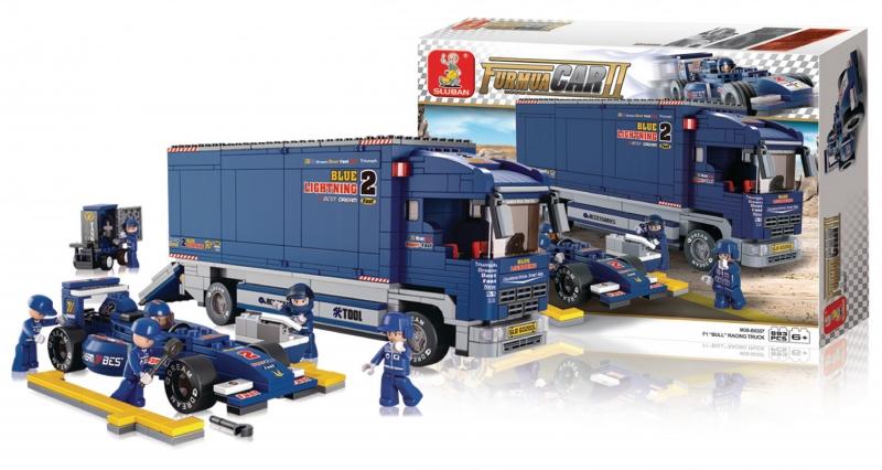 Stavebnice Sluban Formula 1 Formule s přepravním náklaďákem, 641 dílků