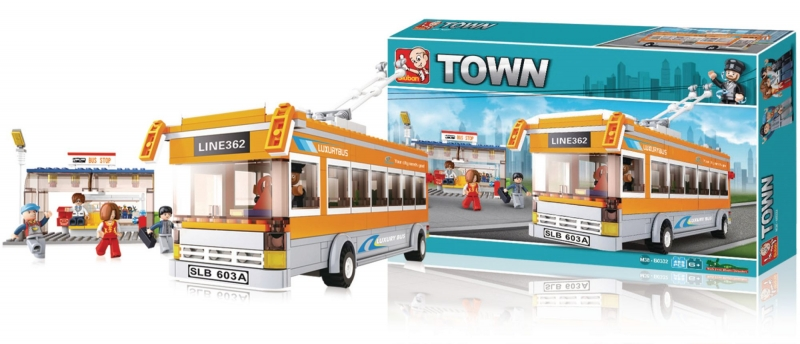 Stavebnice Sluban Town Trolejbus se stanicí, 457 dílků M38-B0332
