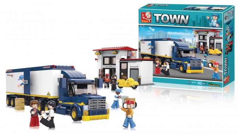 Stavebnice Sluban Town Nákladní automobil se stanicí, 537 dílků M38-B0318