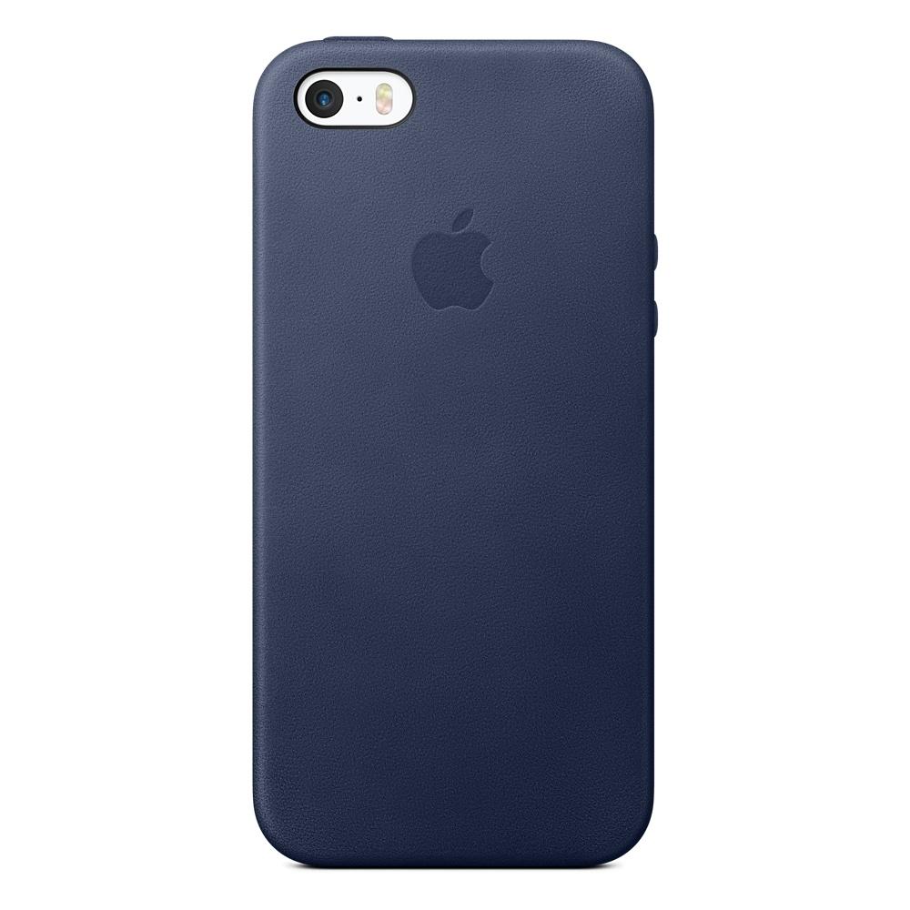 Kožený zadní kryt Apple Leather Case pro iPhone SE/5/5S - Půlnočně modrá MMHG2ZM/A