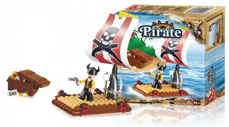 Stavebnice Sluban Pirate Pirátský vor, 64 dílků M38-B0277