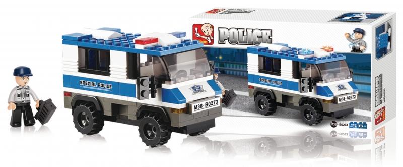 Stavebnice Sluban Police Policejní vězeňský vůz, 126 dílků M38-B0273