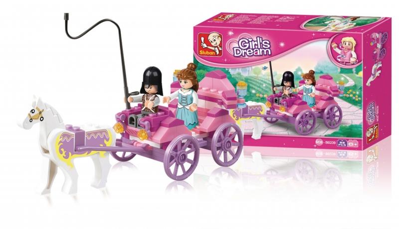 Stavebnice Sluban Girls Dream Princeznin kočár, 99 dílků