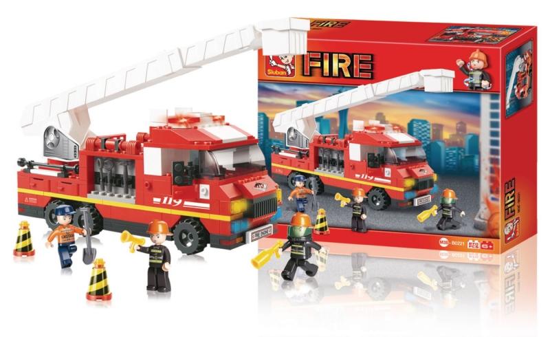 Stavebnice Sluban Fire Požární vůz s žebříkem, 267 dílků M38-B0221