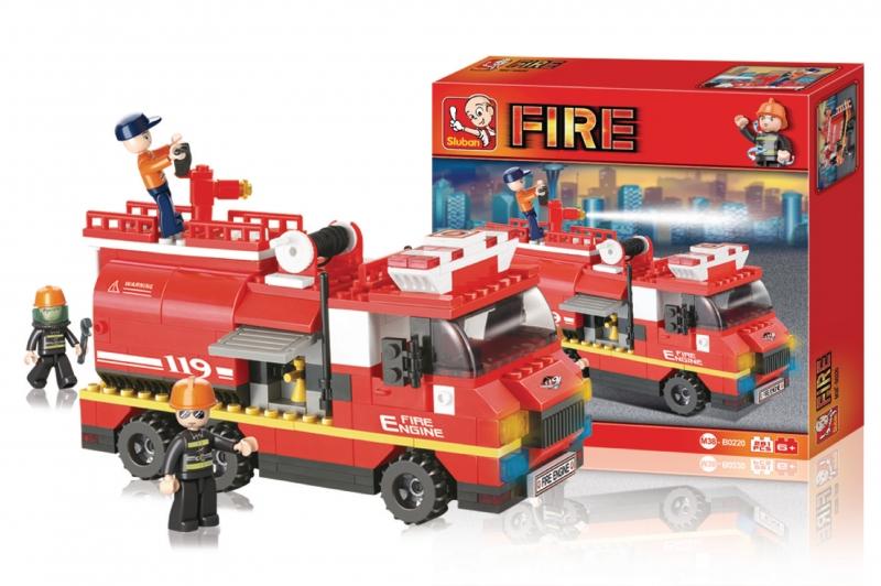 Stavebnice Sluban Fire Požární vůz s cisternou, 281 dílků M38-B0220
