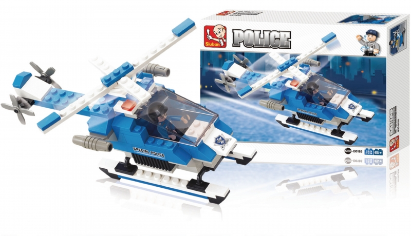Stavebnice Sluban Police Policejní helikoptéra, 133 dílků M38-B0185