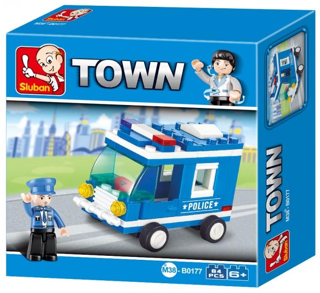 Stavebnice Sluban Town Policejní mini vůz, 64 dílků