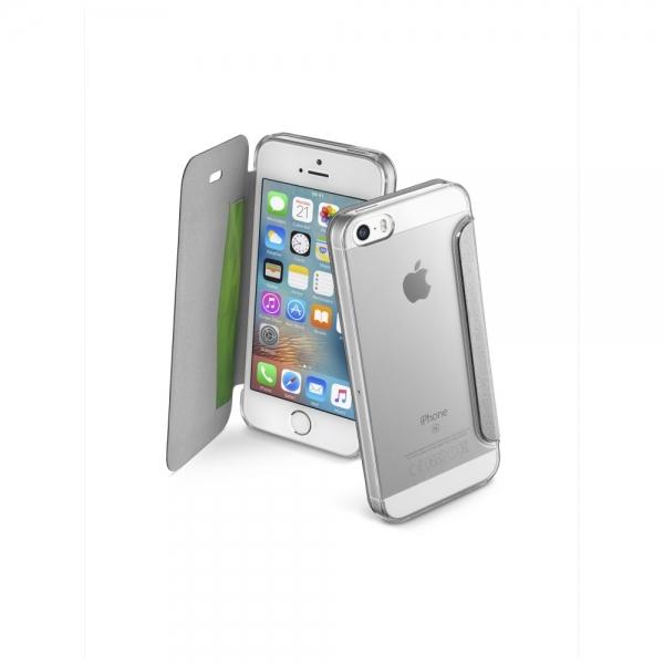 Pouzdro typu kniha CellularLine Clear Book pro Apple iPhone 5/5S/SE - stříbrné CLEARBOOKIPH5S