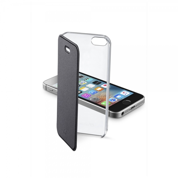 Pouzdro typu kniha CellularLine Clear Book pro Apple iPhone 5/5S/SE - černé CLEARBOOKIPH5K