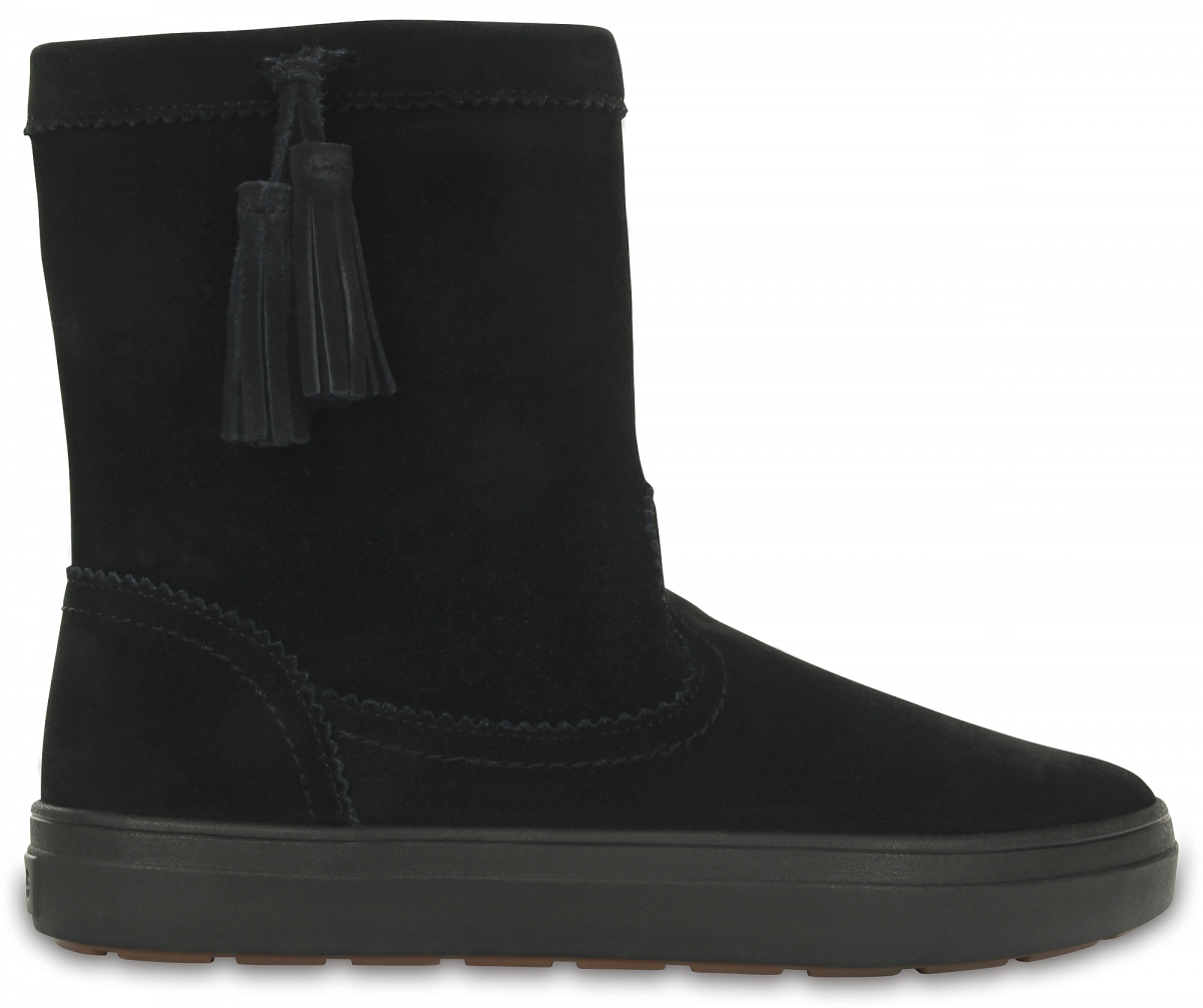 Crocs LodgePoint Suede Pull-On Boot - Black, Black, W10 (41-42), W10 (41-42)