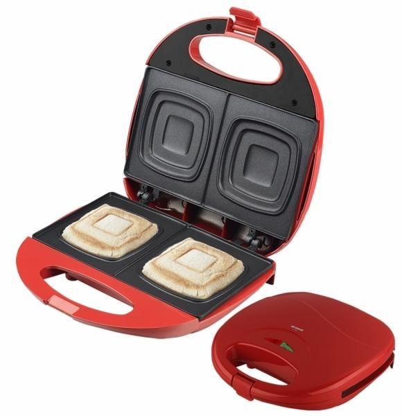 Sendvičovač Orava ST-105 AR pro přípravu čtvercových toastů - červený