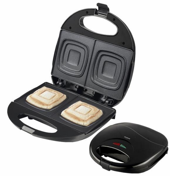 Sendvičovač Orava ST-105 AB pro přípravu čtvercových toastů - černý 8586016722256