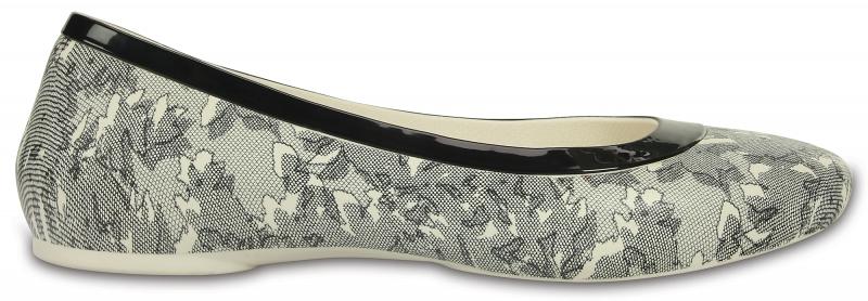 Crocs Lina Shiny Flat - Oyster/Black, W6 (36-37)