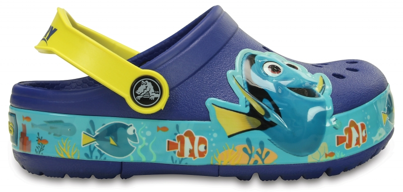 Crocs Lights Finding Dory Clog - Cerulean Blue / Lemon, C11 (28-29)