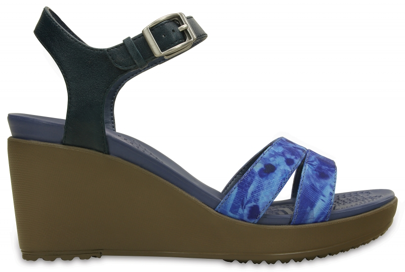 Crocs Leigh II Ankle Strap Graphic Wedge - Nautical Navy/Walnut, W7 (37-38)