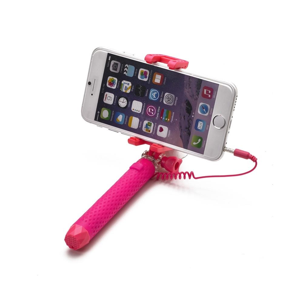 Selfie stick Celly Mini Selfie, se spouští, - růžová MINISELFIEPK