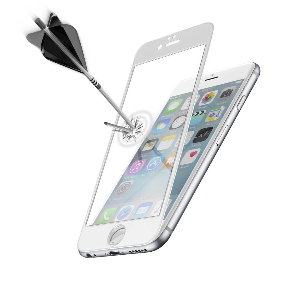 Ochranné tvrzené sklo CellularLine Capsule pro Apple iPhone 6, bílé TEMPGCAPIPH647SW
