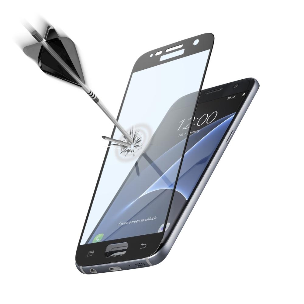 Ochranné tvrzené sklo CellularLine Capsule pro Samsung Galaxy S7, černé TEMPGCAPGALS7K
