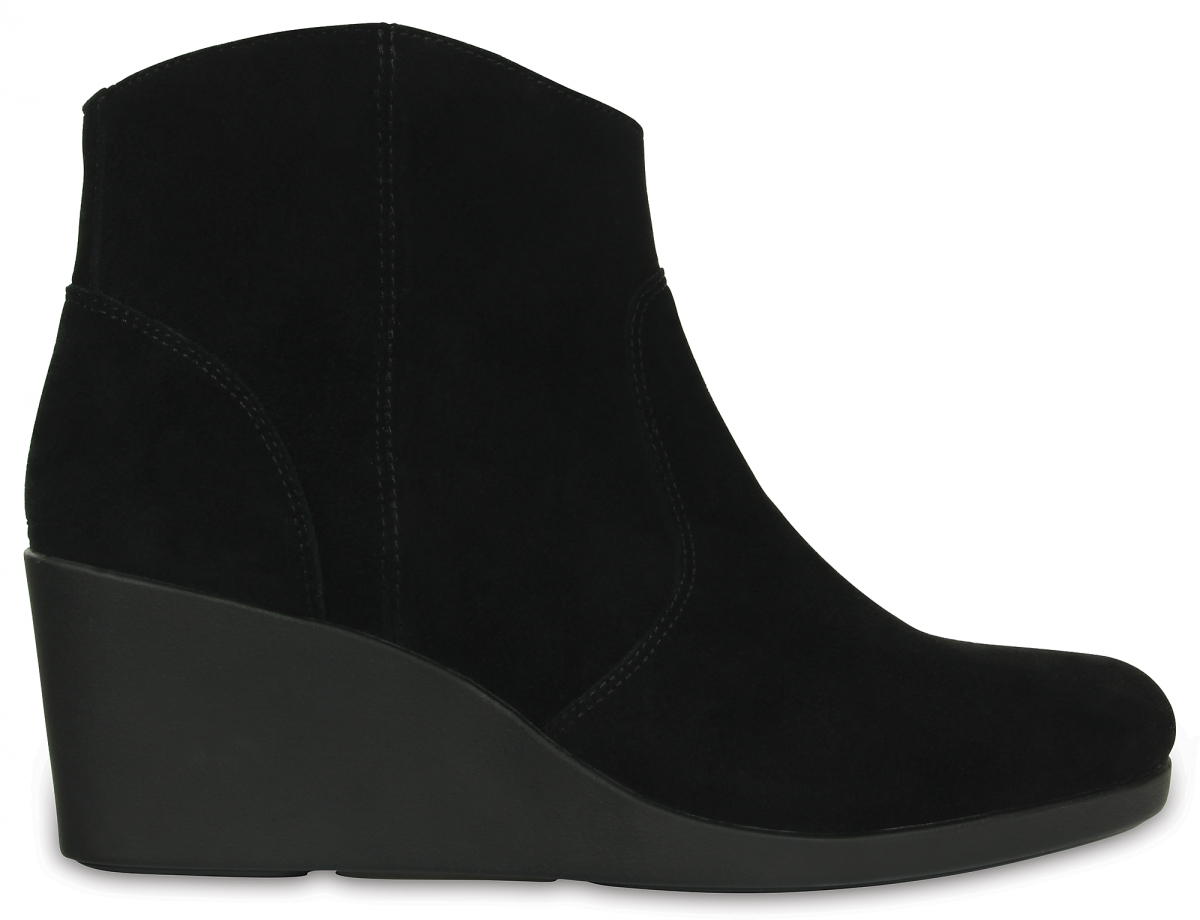 Crocs Leigh Suede Wedge Bootie - Black, W7 (37-38)