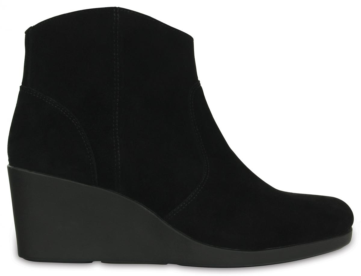Crocs Leigh Suede Wedge Bootie - Black, W9 (39-40)