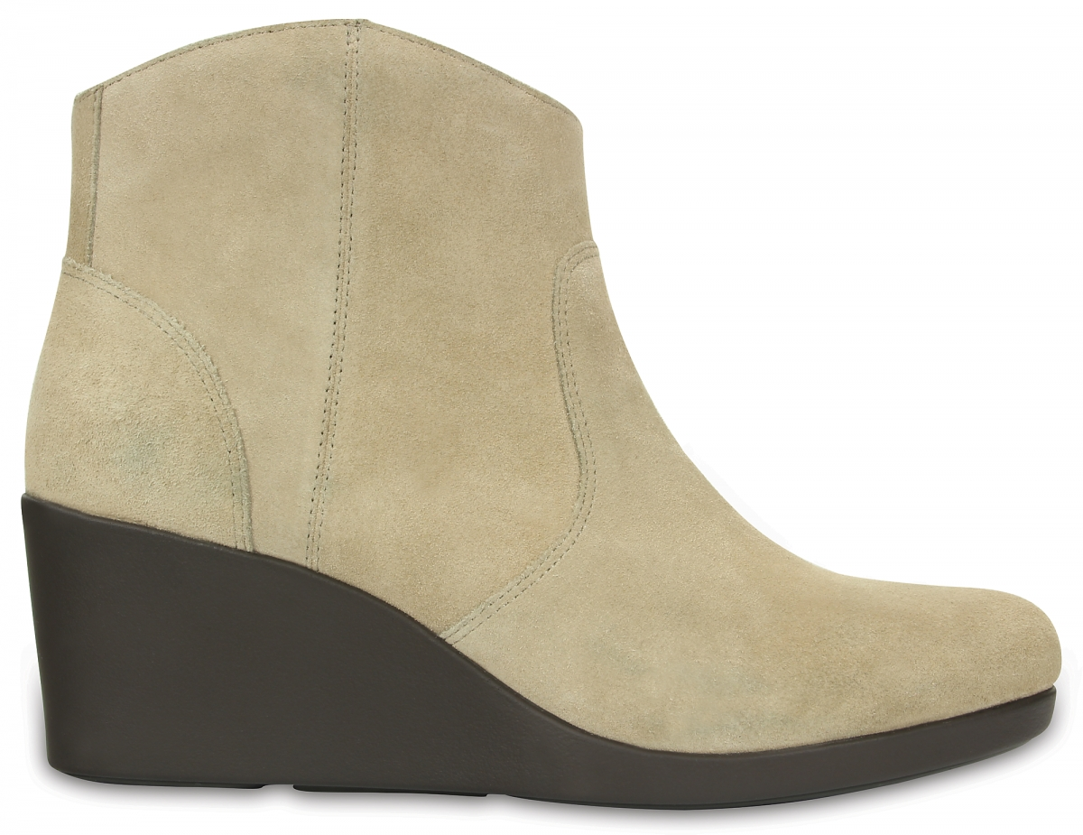Crocs Leigh Suede Wedge Bootie - Tan, W8 (38-39)