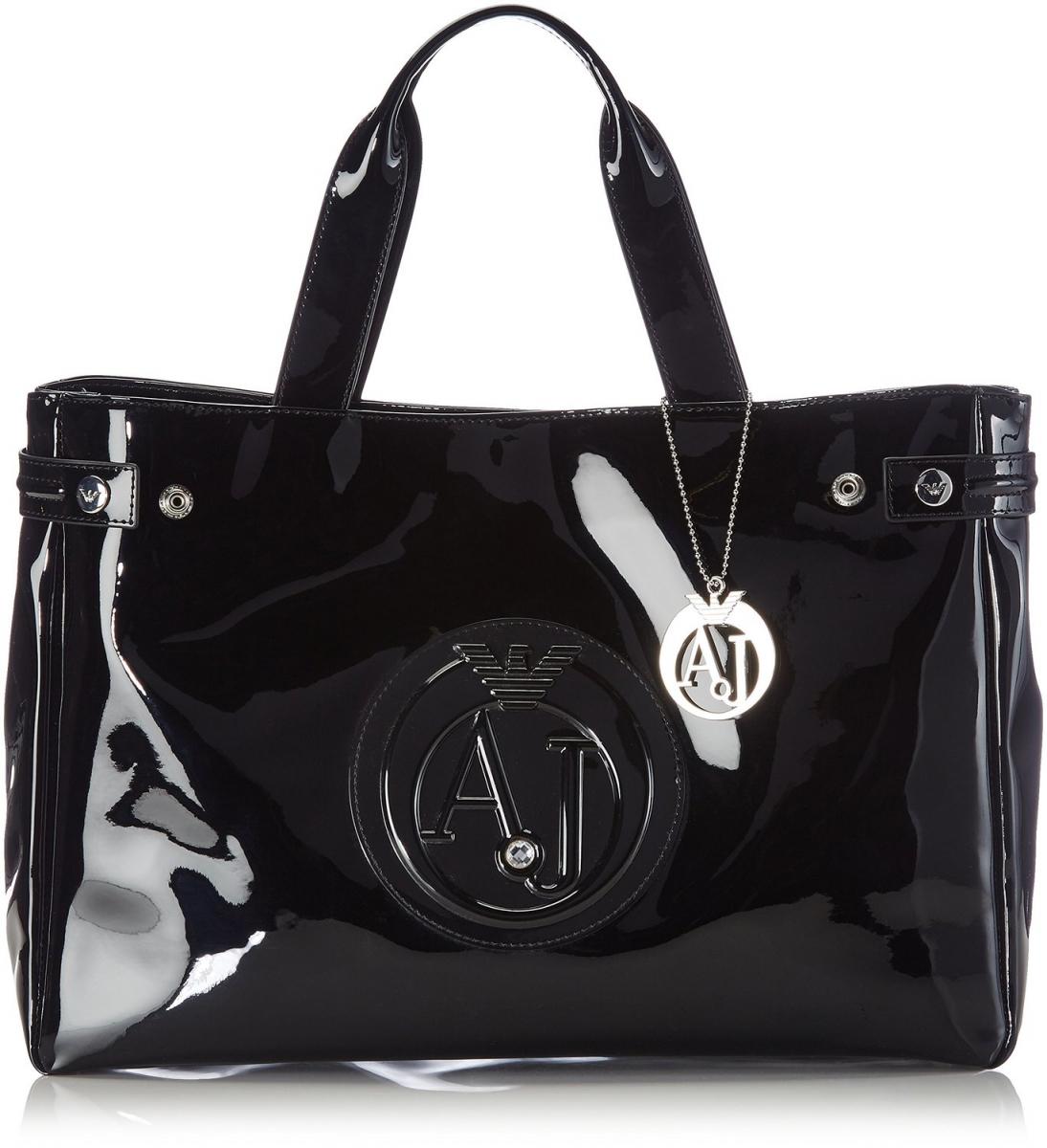 Armani Jeans Shopping Bag With Charms, černá
