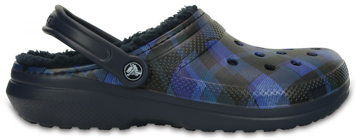 Crocs Classic Lined Graphics Clog - Navy / Cerulean Blue, M11 (45-46)